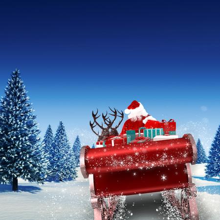 trineo: Vuelo de Santa en su trineo contra el paisaje nevado con árboles de abeto Foto de archivo