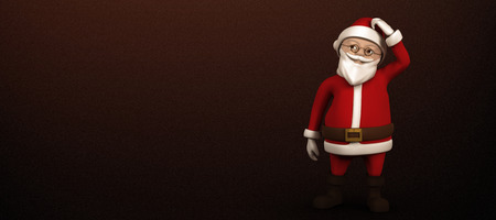 scratching head: Cartoon santa scratching his head against white background with vignette