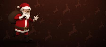 renna: Fumetto Santa che funziona con il sacco contro marrone modello renna Archivio Fotografico