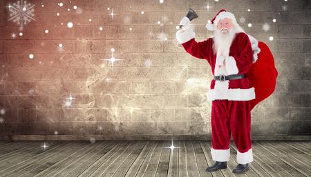 grimy: Santa ringing his bell against grimy room