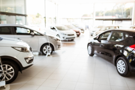 automobile dealership: View of row new car at car dealership