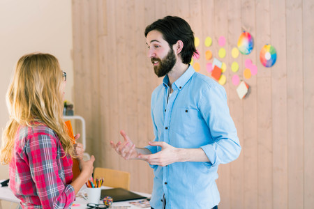 envisioning: Creative team envisioning their ideas in casual office Stock Photo