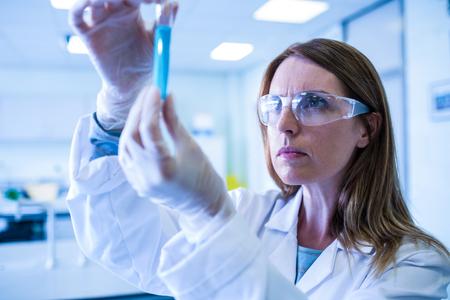 lab coat: Cient�fico que mira el tubo de ensayo en el laboratorio en la universidad
