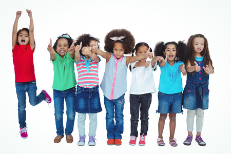 standing up: Smiling girl all standing in a row against a white background
