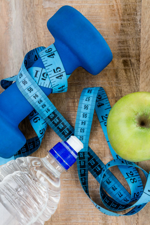 fitness equipment: Ingredients for a healthy lifestyle on wooden table Stock Photo