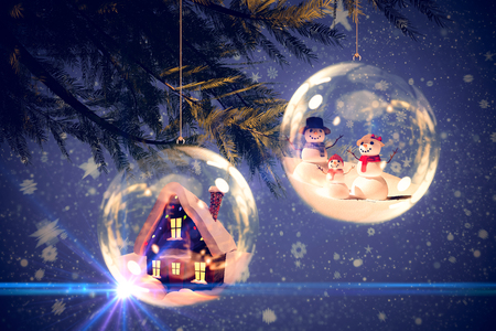 Digitally generated white snow family against cute christmas village under full moon
