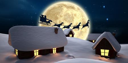 Weihnachtsliefer präsentiert zu Dorf