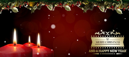 spot lit: Christmas greeting  against grey abstract light spot design Stock Photo