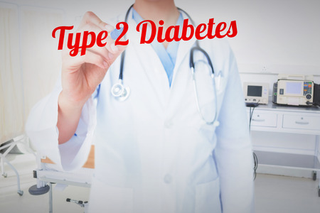 diabetes: The word type 2 diabetes and doctor pointing felt pen  against empty bed in the hospital room