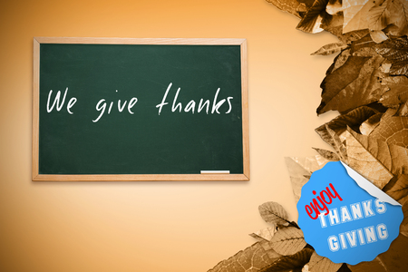 give thanks: Digitally generated image of blue paper with fold against composite image of chalkboard