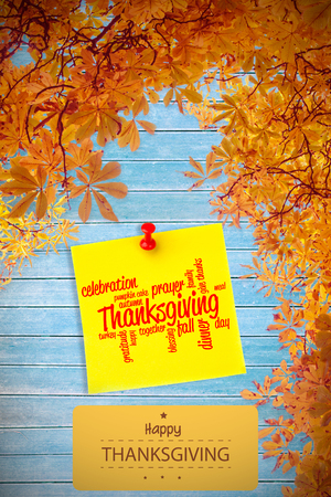 jumble: Happy thanksgiving against illustrative image of pushpin on yellow paper