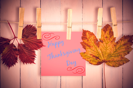 happy thanksgiving: Autumn leaf against painted blue wooden planks Stock Photo