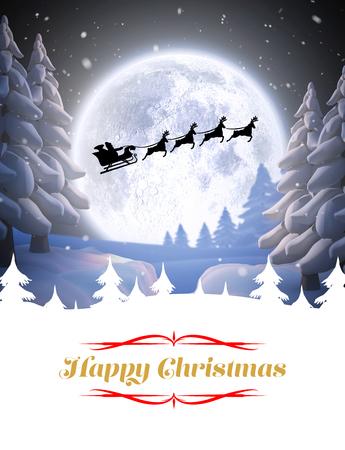 Happy Christmas tegen winter sneeuw scene Stockfoto