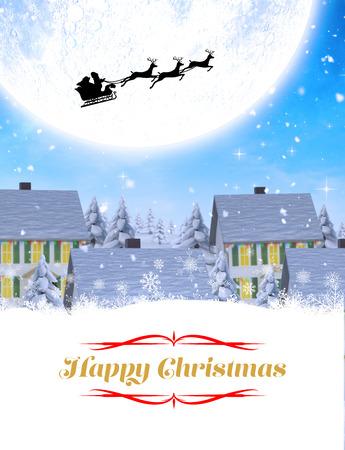 boldog karácsonyt: Happy Christmas against winter village