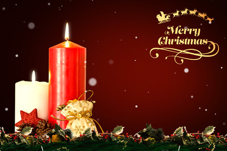 vignette: Christmas greeting  against red background with vignette Stock Photo