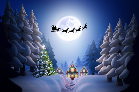 christmas sleigh: Silhouette of santa claus and reindeer against winter village Stock Photo