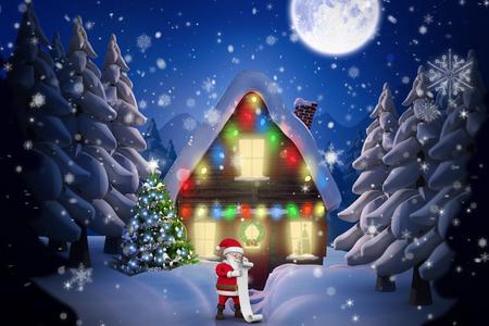 santas village: Cartoon santa reading his list against winter village Stock Photo