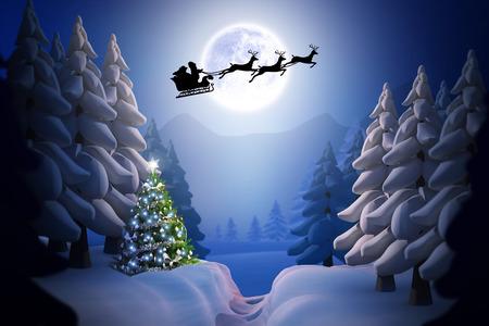 papa noel en trineo: Silueta de Pap� Noel y los renos contra escena de la nieve del invierno Foto de archivo