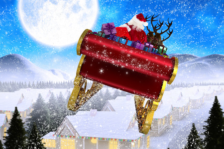 santas village: Santa flying his sleigh against winter village