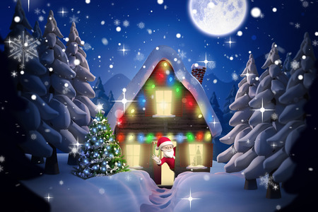 Cute cartoon santa claus against winter village