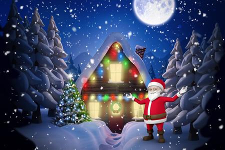 santas village: Cute cartoon santa claus against winter village