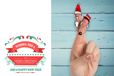 vignette: Christmas fingers against white background with vignette