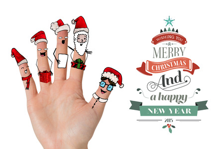 merry time: Christmas caroler fingers against merry christmas message