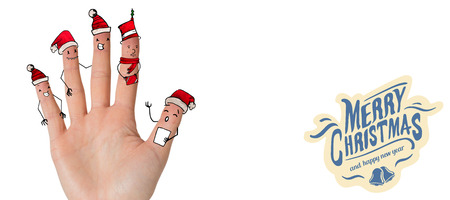 text room: Christmas caroler fingers against white background with vignette Stock Photo