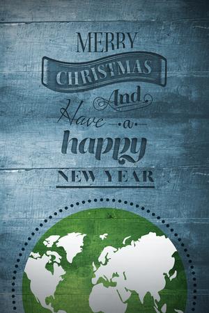 地球日图形与圣诞设计在木头上
