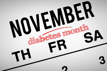 calendario noviembre: Imagen compuesta del mes de la diabetes en contra de noviembre, sobre el calendario