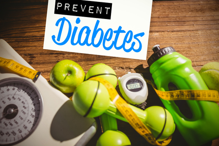 Prevent diabetes against indicators of healthy lifestyle Stock Photo - 47542744