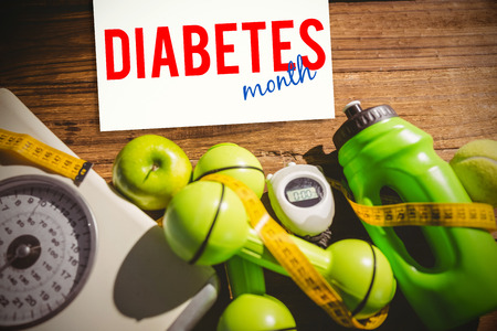 diabetes: diabetes month against indicators of healthy lifestyle Stock Photo