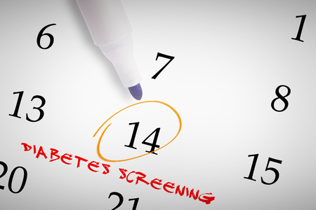 screening: Blue marker against diabetes screening Stock Photo