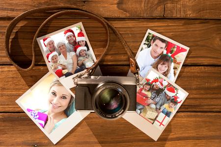 botas de navidad: Ni�os sentados con su familia la celebraci�n de botas de Navidad contra la estructura qu�mica en gris y blanco