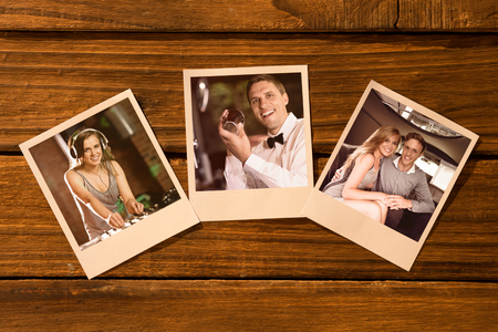 together with long tie: Instant photos on wooden floor against pretty dj playing techno music