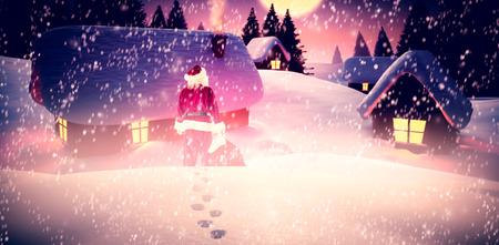 papa noel en trineo: Santa con el saco de regalos de santa contra sobrevolando pueblo por la noche