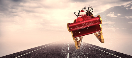 lead sled: Santa flying his sleigh against cloudy landscape background with street