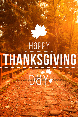 happy thanksgiving: Happy thanksgiving against autumn scene