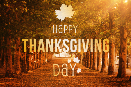 Happy thanksgiving against autumn scene