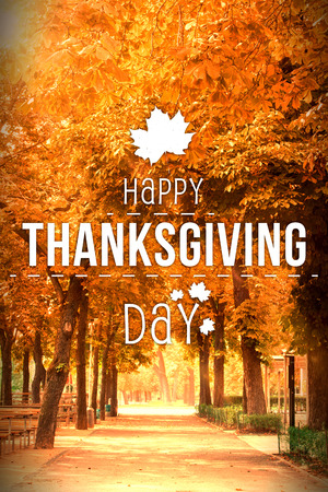 Happy thanksgiving against autumn scene Stock Photo - 47543299
