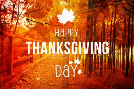 happy: Happy thanksgiving against autumn scene