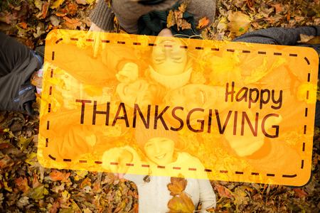 thanksgiving adult: Happy thanksgiving against smiling young family doing a head circles