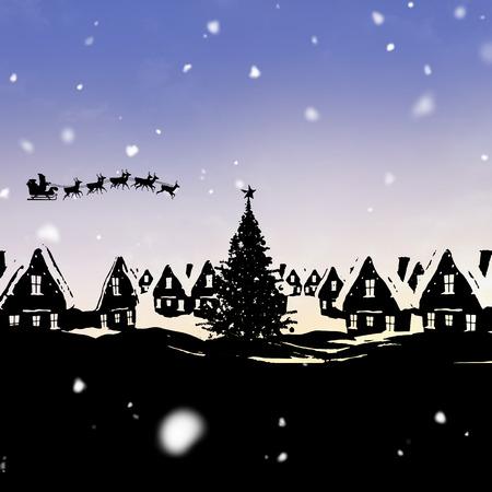 pere noel: Noël scène silhouette contre le soleil brillant Banque d'images
