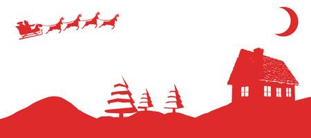 pere noel: Noël scène silhouette sur fond blanc avec vignette Banque d'images