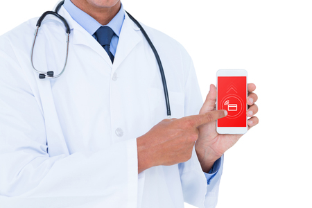 mobile phone screen: Midsection of male doctor pointing on mobile phone against loading screen