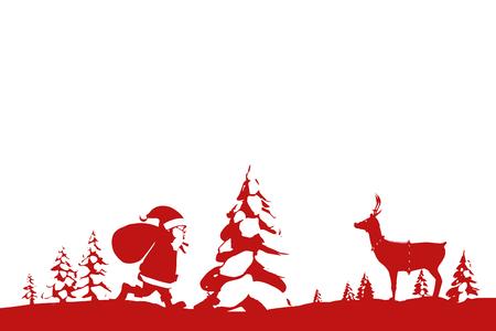 Kerstmis scène silhouet tegen een witte achtergrond met vignet
