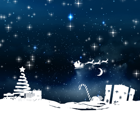 snow falling: Christmas scene silhouette against stars twinkling in night sky Stock Photo