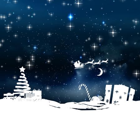 neige qui tombe: No�l sc�ne, silhouette, contre �toiles scintillantes dans le ciel nocturne Banque d'images