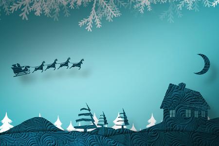 Noël scène silhouette contre le sapin silhouette des arbres forestiers sur bleu Banque d'images