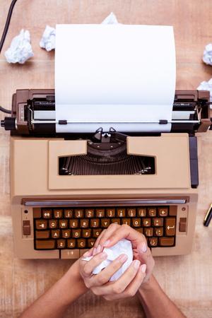 old desk: Above view of old typewriter on wooden desk